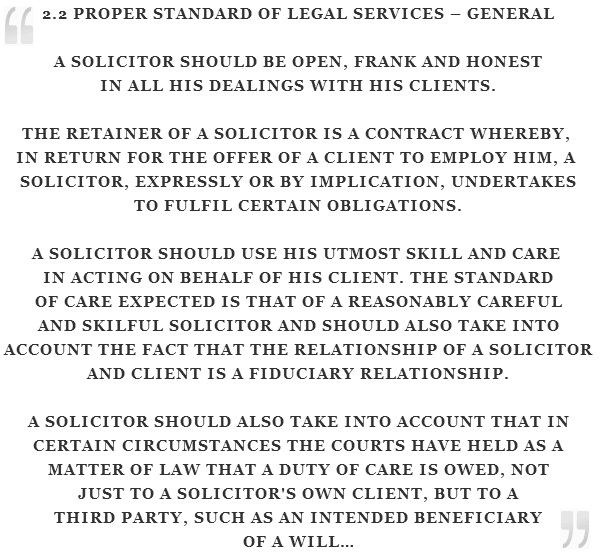 Excerpt - Solicitors Code of Conduct, Ireland